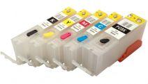 Hervulbare lege patronen voor Canon PGI-550/CLI-551 met auto reset chip (5 stuks)