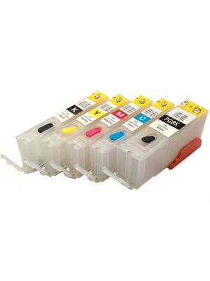 Hervulbare lege patronen voor Canon PGI-550/CLI-551 met auto reset chip (5 stuks) HERV5PGI550CLI551