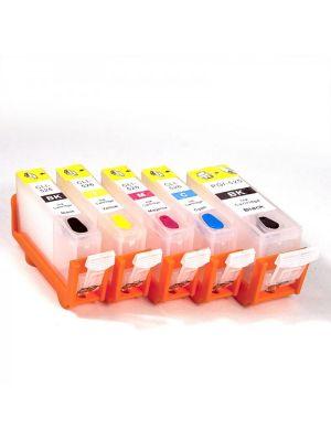 Hervulbare lege patronen voor Canon PGI-525Bk/CLI-526Bk/C/M/Y met auto reset chips (5 stuks) 11002