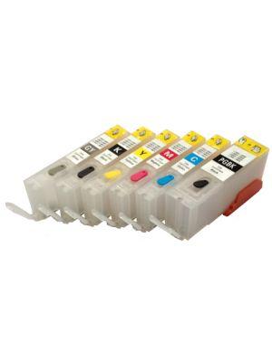 Hervulbare lege patronen voor Canon PGI-550/CLI-551 met auto reset chip (6 stuks) HERV6PGI550CLI551