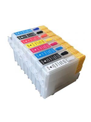 Hervulbare lege patronen voor Epson R800/R1800 met auto reset chip (8 stuks) 6022