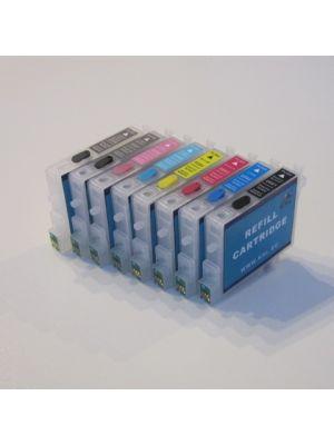 Hervulbare lege patronen voor Epson R2400 met auto reset chip (8 stuks)