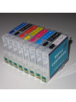 Hervulbare lege patronen voor Epson R800/R1800 met auto reset chip (8 stuks)