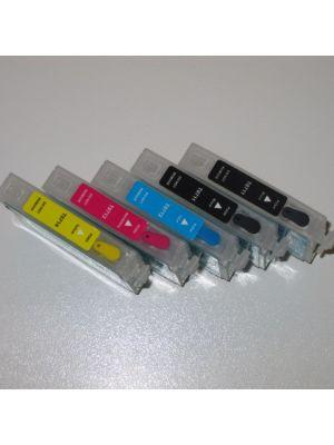 Hervulbare lege patronen voor Epson (2 x T1291)+T1292+T1293+T1294 met auto reset chip (5stuks)