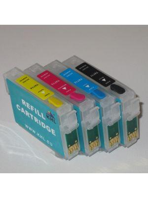 Hervulbare lege patronen voor Epson T0711-T0714 met auto reset chip (4stuks)