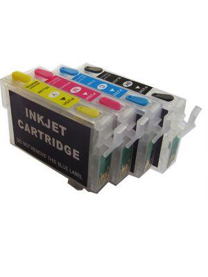 Hervulbare lege patronen voor Epson T0711-T0714 met auto reset chip (4stuks) 6000
