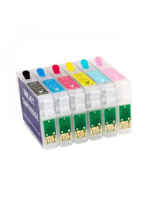 Hervulbare lege patronen voor Epson T0791 - T0796 met auto reset chip (6stuks)