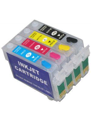 Hervulbare lege patronen voor Epson T1281-1284/T1291-1294/T1301-1304 met auto reset chip (4stuks)